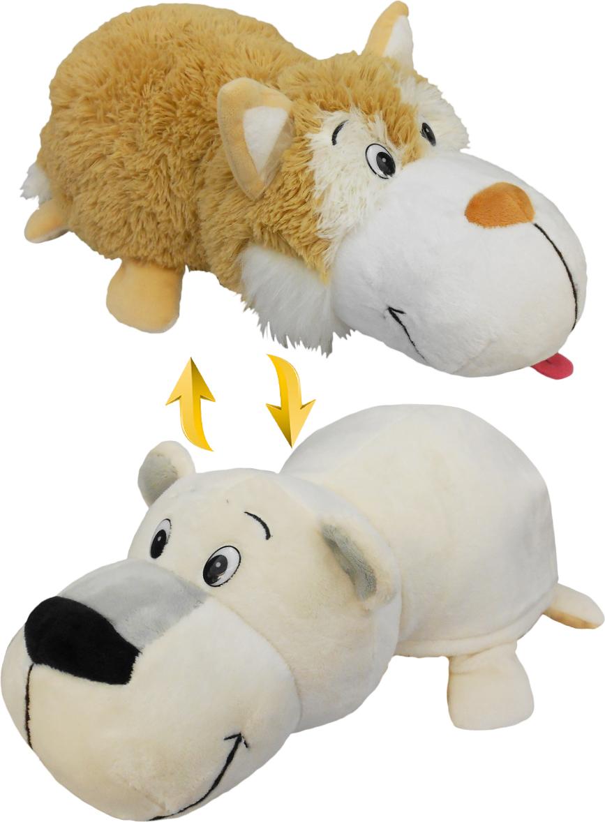 Фото - 1TOYМягкая игрушкаВывернушка 2 в 1 Бежевый хаски-Полярный медведь 40 см мягкая игрушка вывернушка 1toy хаски полярный медведь 40 см белый серый плюш т10929
