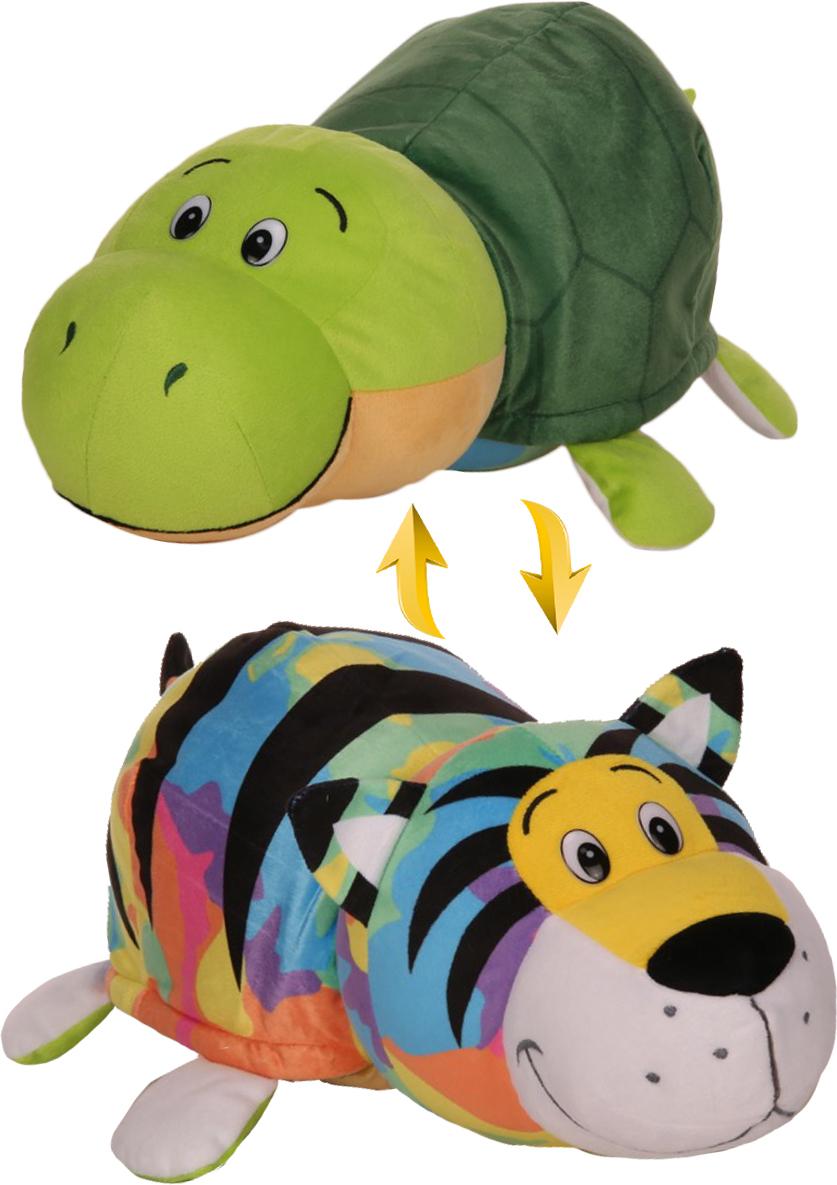 1TOYМягкая игрушкаВывернушка 2 в 1 Радужный тигр-Черепаха 40 см мягкие игрушки 1toy вывернушка тигр черепаха