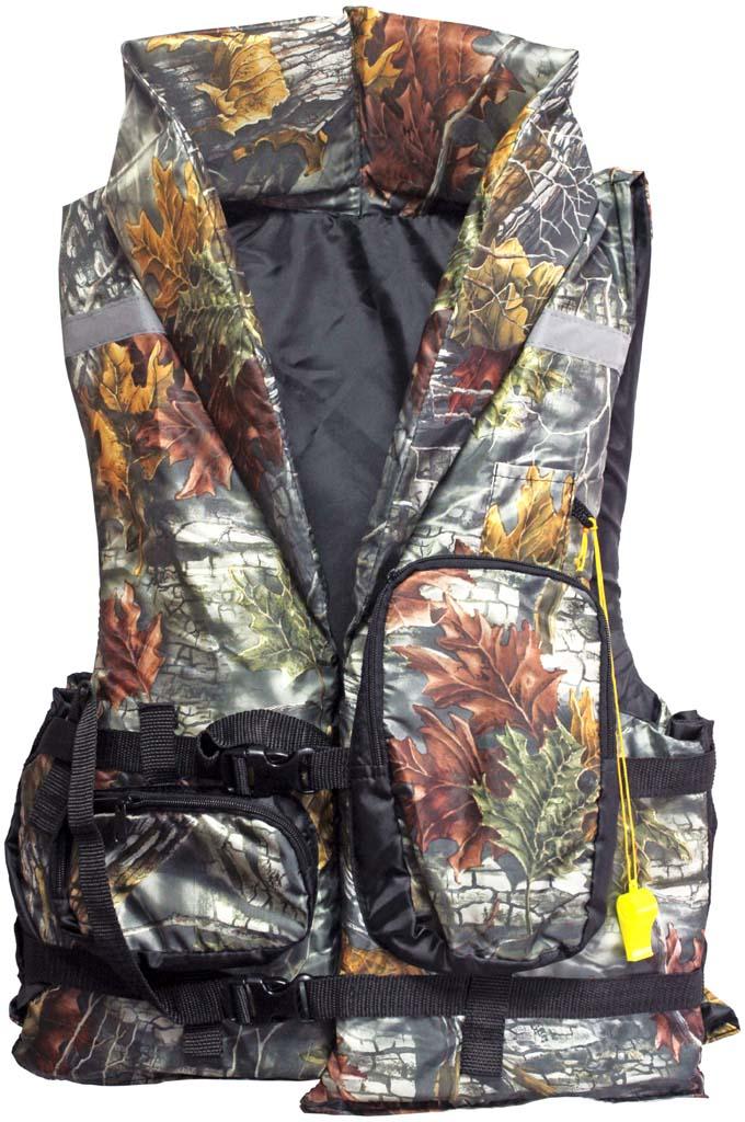 Жилет спасательный Таежник Каскад-2, цвет: камуфляжный. Размер 48-52 спасательный жилет таежник спринт универсальный