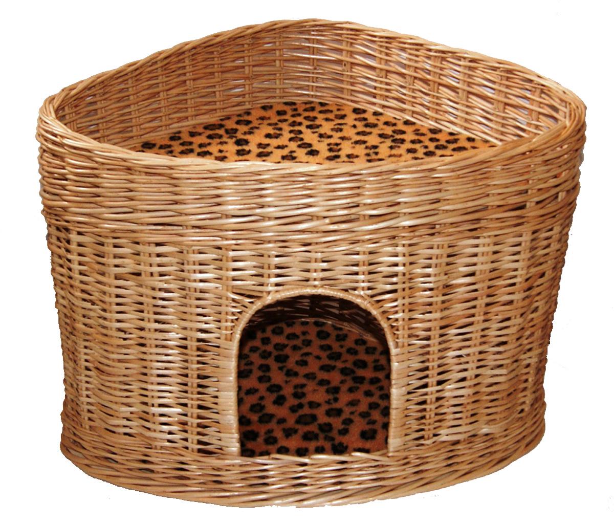 Домик для кошек Меридиан, угловой, 2-ярусный, цвет: леопардовый, 61 х 43 х 47 см домик когтеточка меридиан геометрия угловой 4 ярусный 55 х 48 х 158 см
