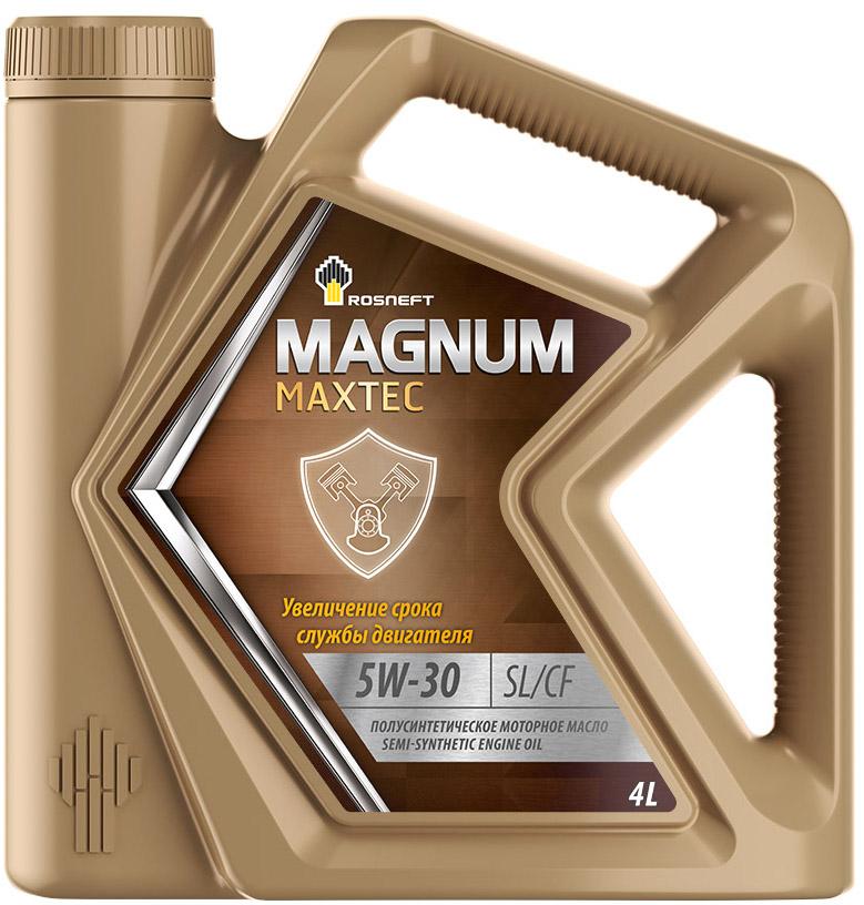 Масло моторное Роснефть Magnum Maxtec, полусинтетическое, 5W-30, 4 л моторное масло роснефть 4 л 40814942