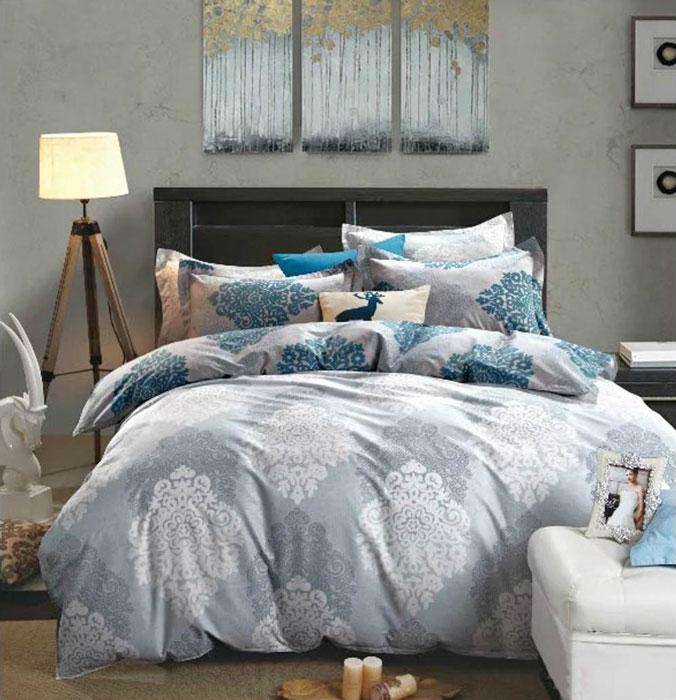 """Комплект белья Tango """"Ula"""", 1,5-спальный, наволочки 50x70, цвет: серый, синий"""