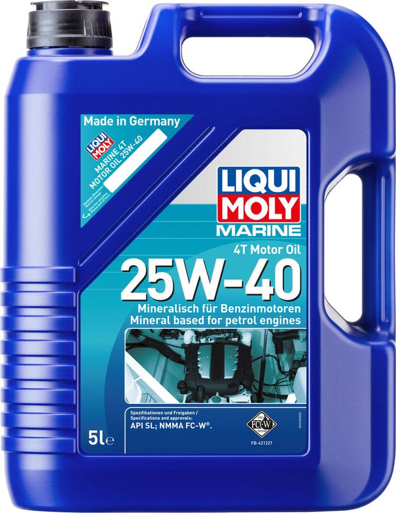 """Моторное масло Liqui Moly """"Marine 4T"""", минеральное, для лодок, класс вязкости 25W-40, 5 л"""