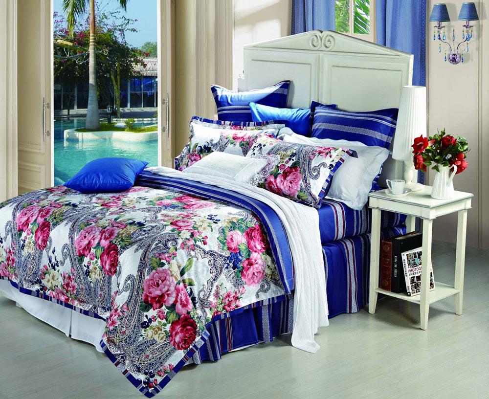"""Комплект белья СайлиД """"Allan"""", 2-спальный, наволочки 50x70, цвет: синий"""