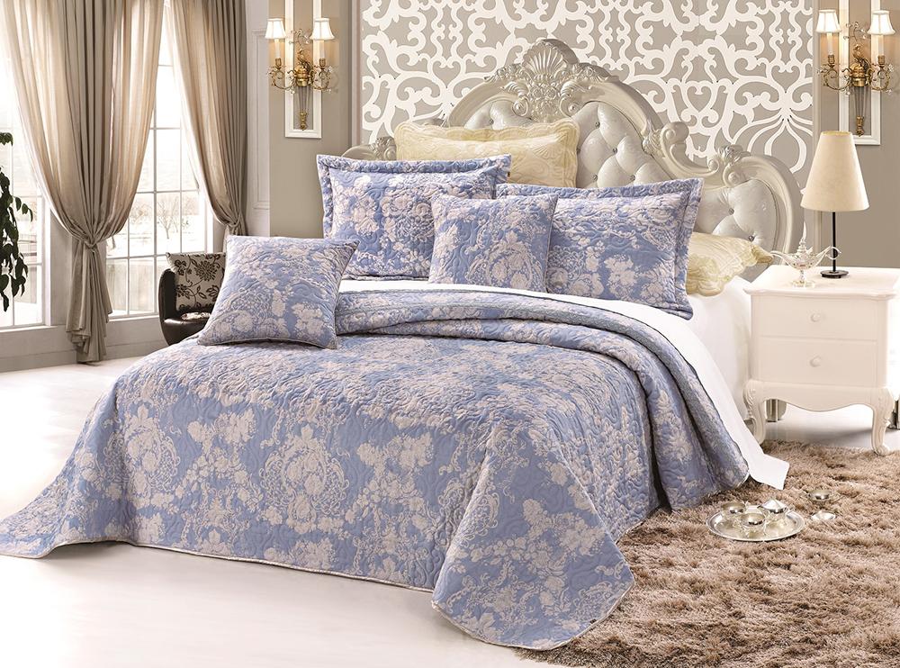 """Комплект для спальни Tango """"Madeira"""": покрывало 160 х 240 см, наволочка 50 х 50 см, цвет: бежевый, голубой"""