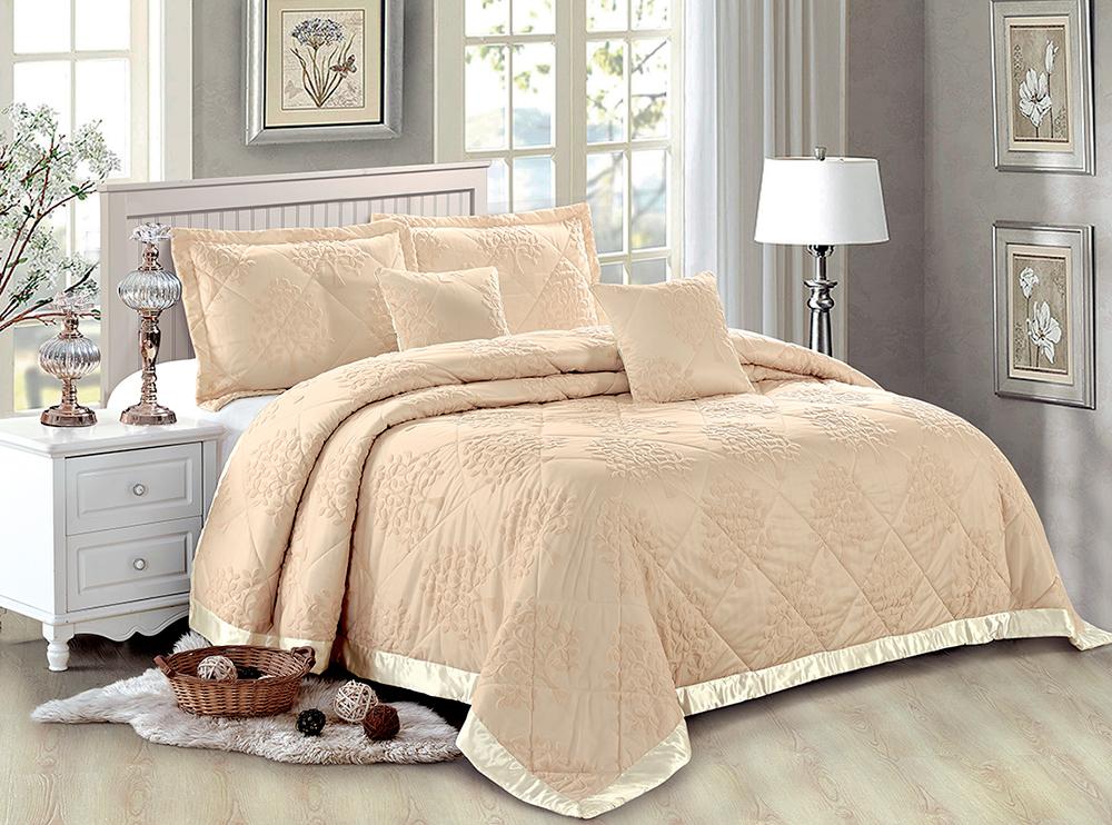 "Комплект для спальни Tango ""Jacqueline"": покрывало 230 х 250 см, наволочки 50 х 70, 43 х 43 см, цвет: бежевый"