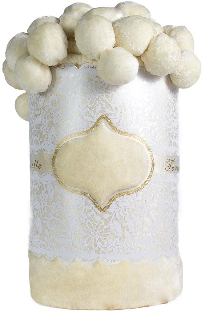 Плед Мадмуазель Бато Лавуар Помпон, цвет: белый, 210 х 220 см. vtx260436