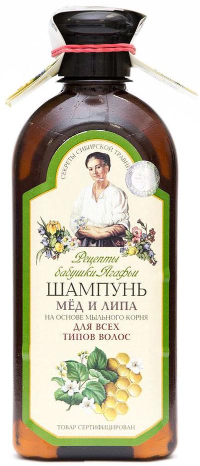 Рецепты бабушки Агафьи шампунь Мед и липа на основе мыльного корня для всех типов волос, 350 мл рецепты бабушки агафьи шампунь хлебный на основе мыльного корня для всех типов волос 350 мл