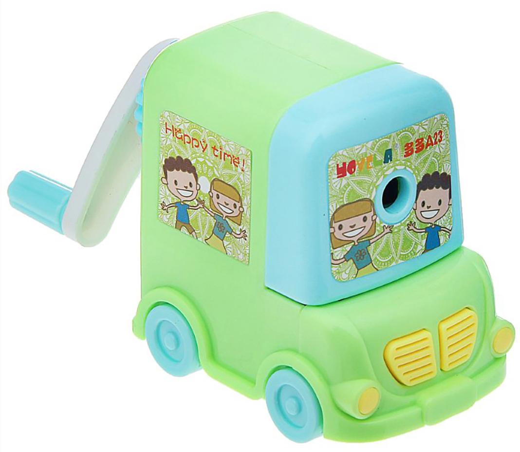 Точилка механическая с контейнером Машинка цвет зеленый 172338