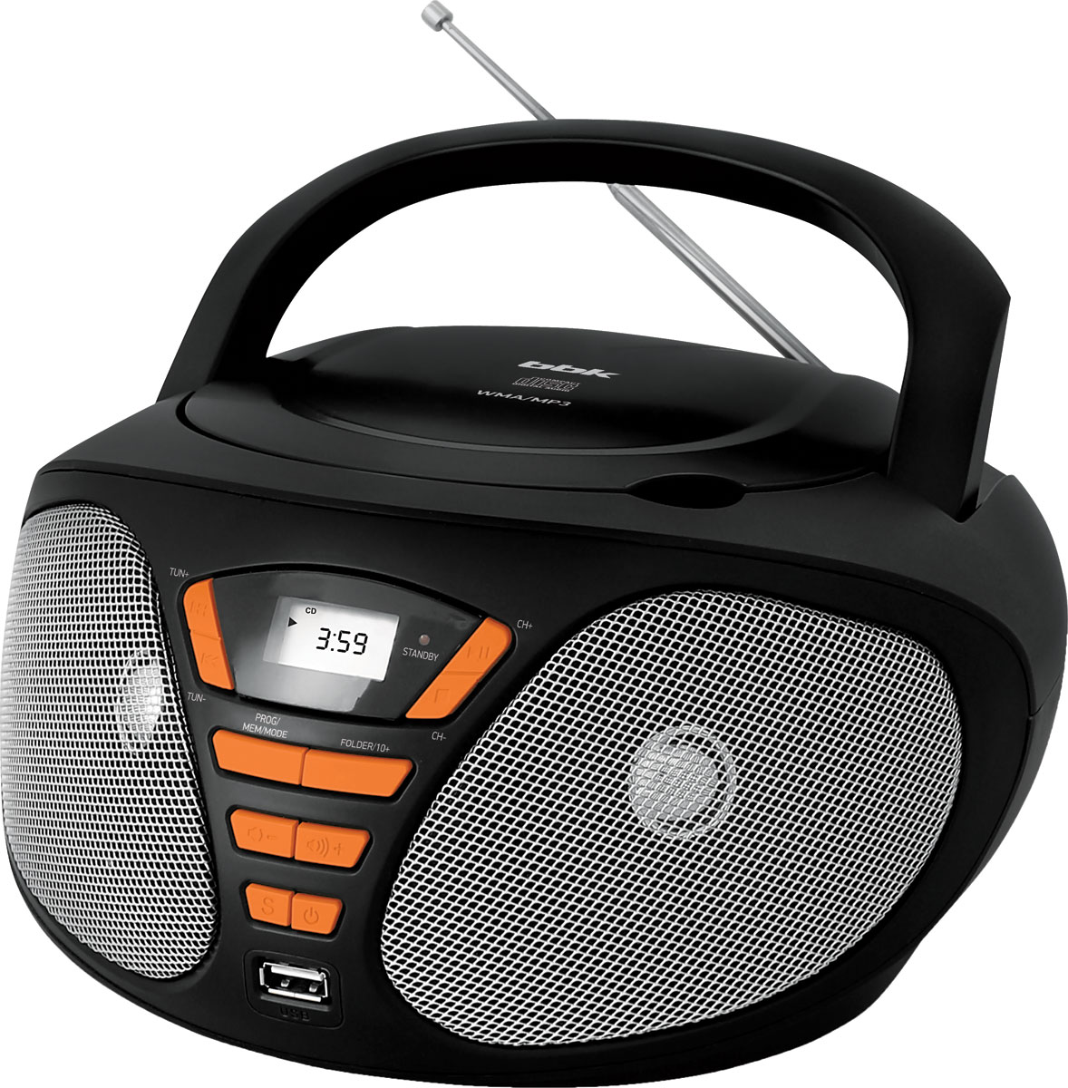 Магнитола BBK BX180U, Black Orange CD/MP3 bbk bx180u черный c оранжевым