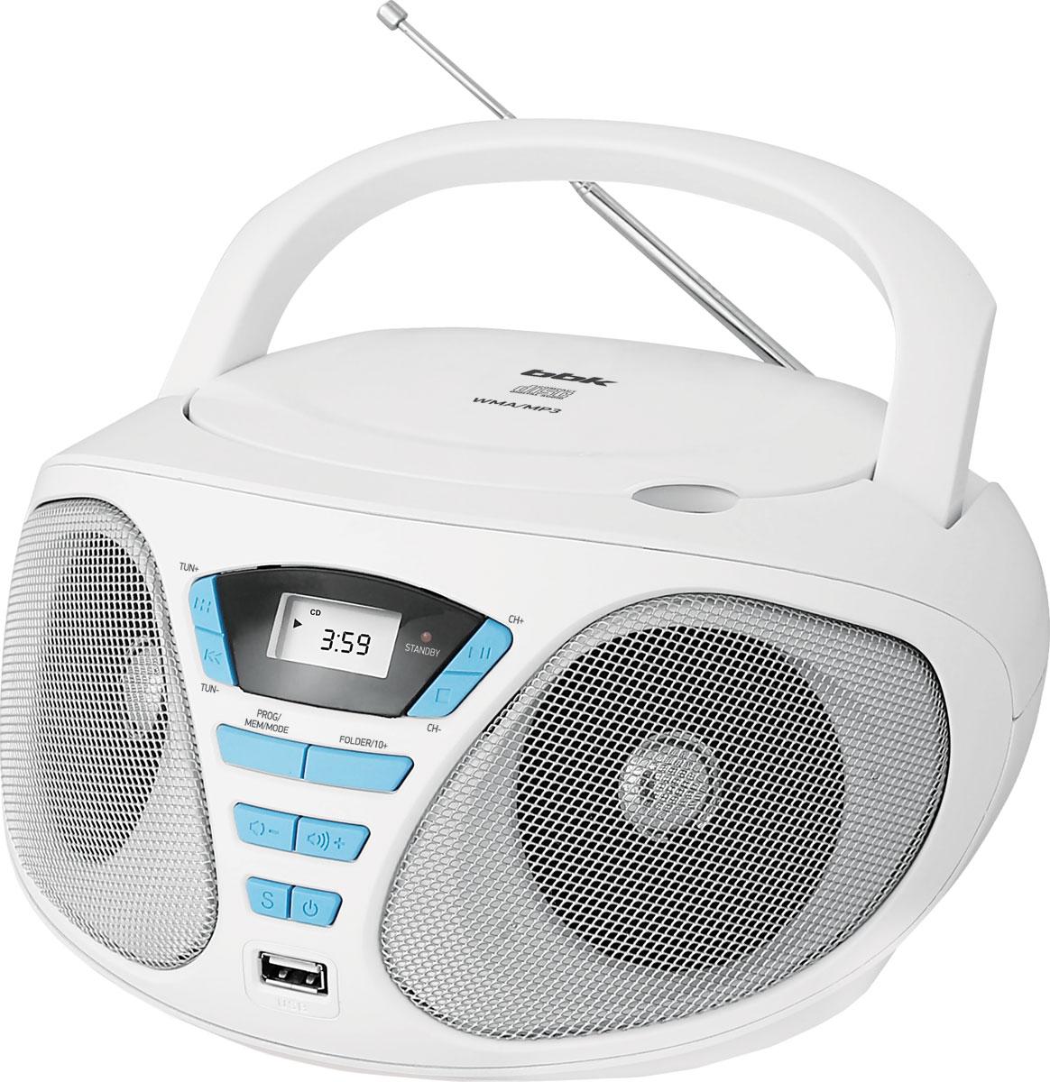лучшая цена BBK BX180U, White Cyan CD/MP3 магнитола