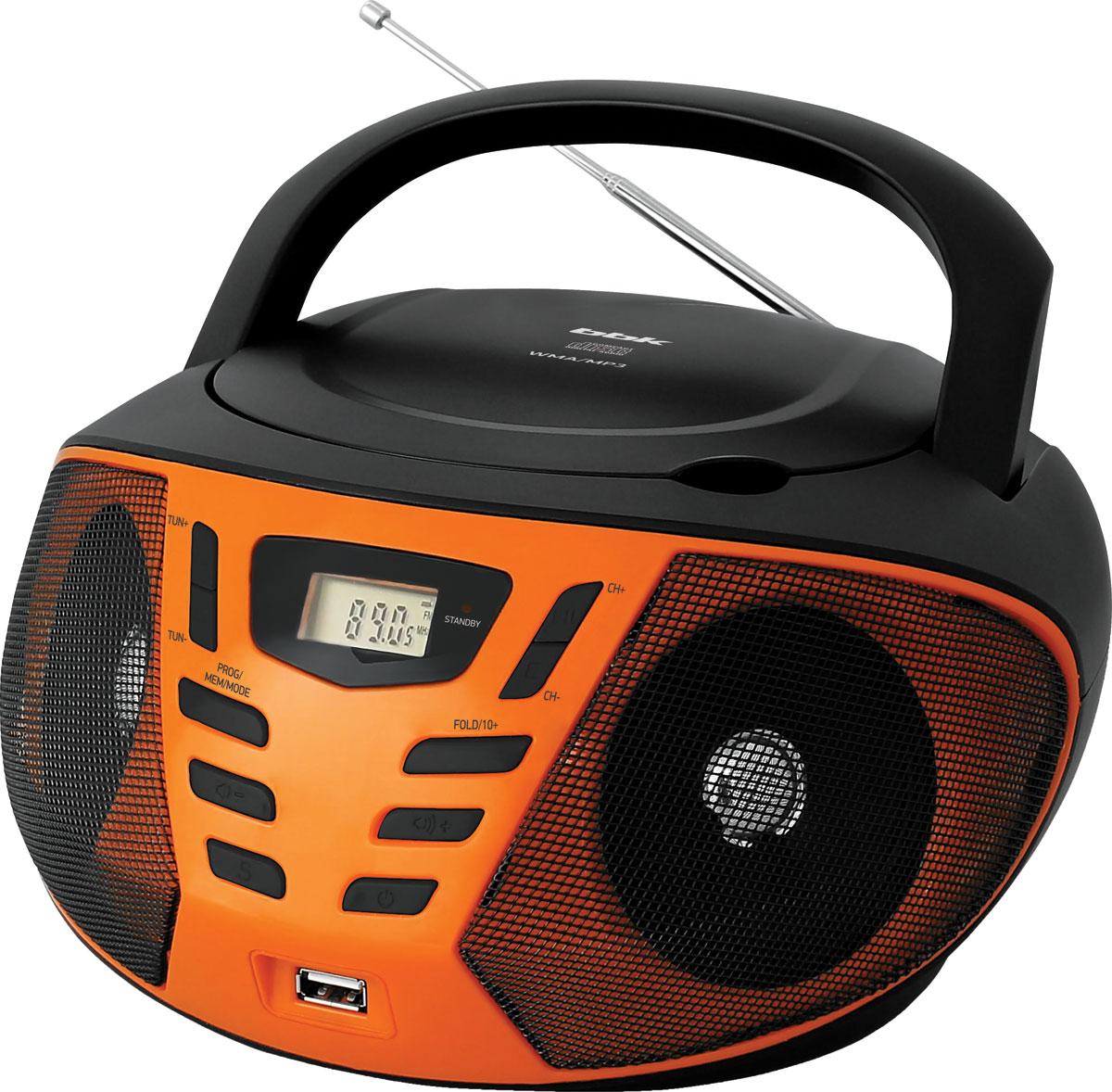 Магнитола BBK BX193U, Black Orange CD/MP3 магнитола bbk bx193u white orange