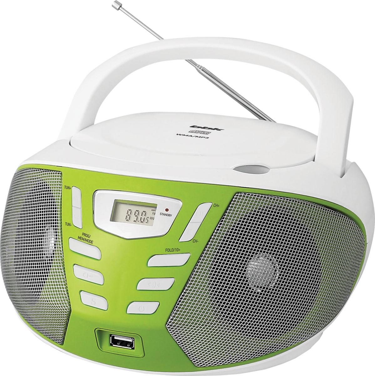 Магнитола BBK BX193U, White Green CD/MP3 магнитола bbk bx193u white green