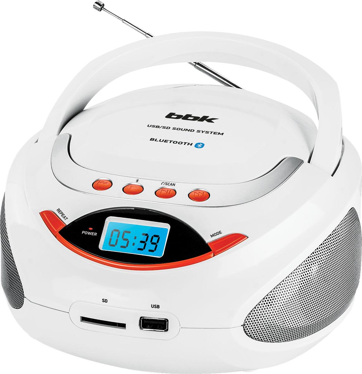 Магнитола BBK BS09BT, White Orange USB/SD BBK