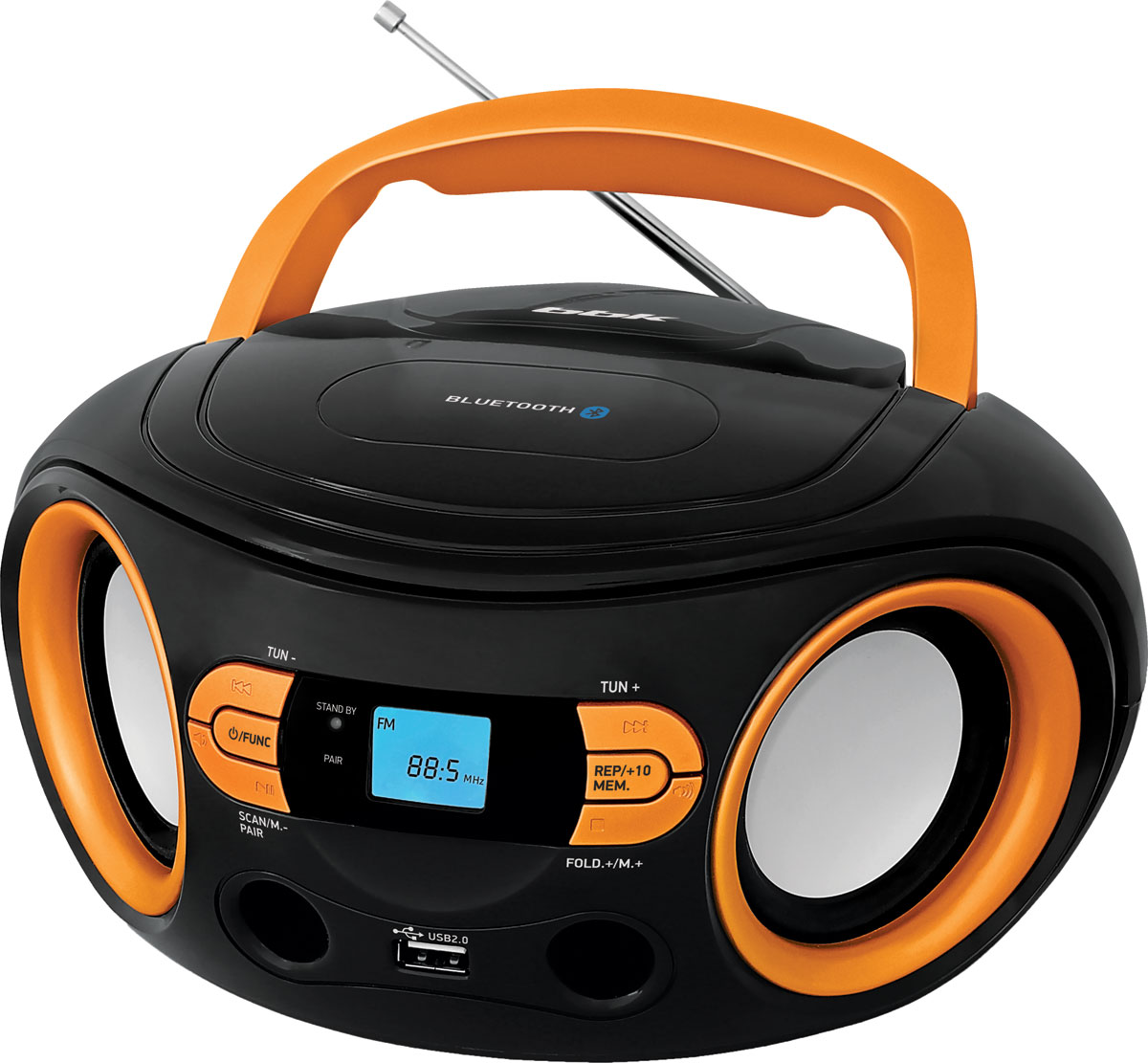 Магнитола BBK BS15BT, Black Orange USB/SD цены