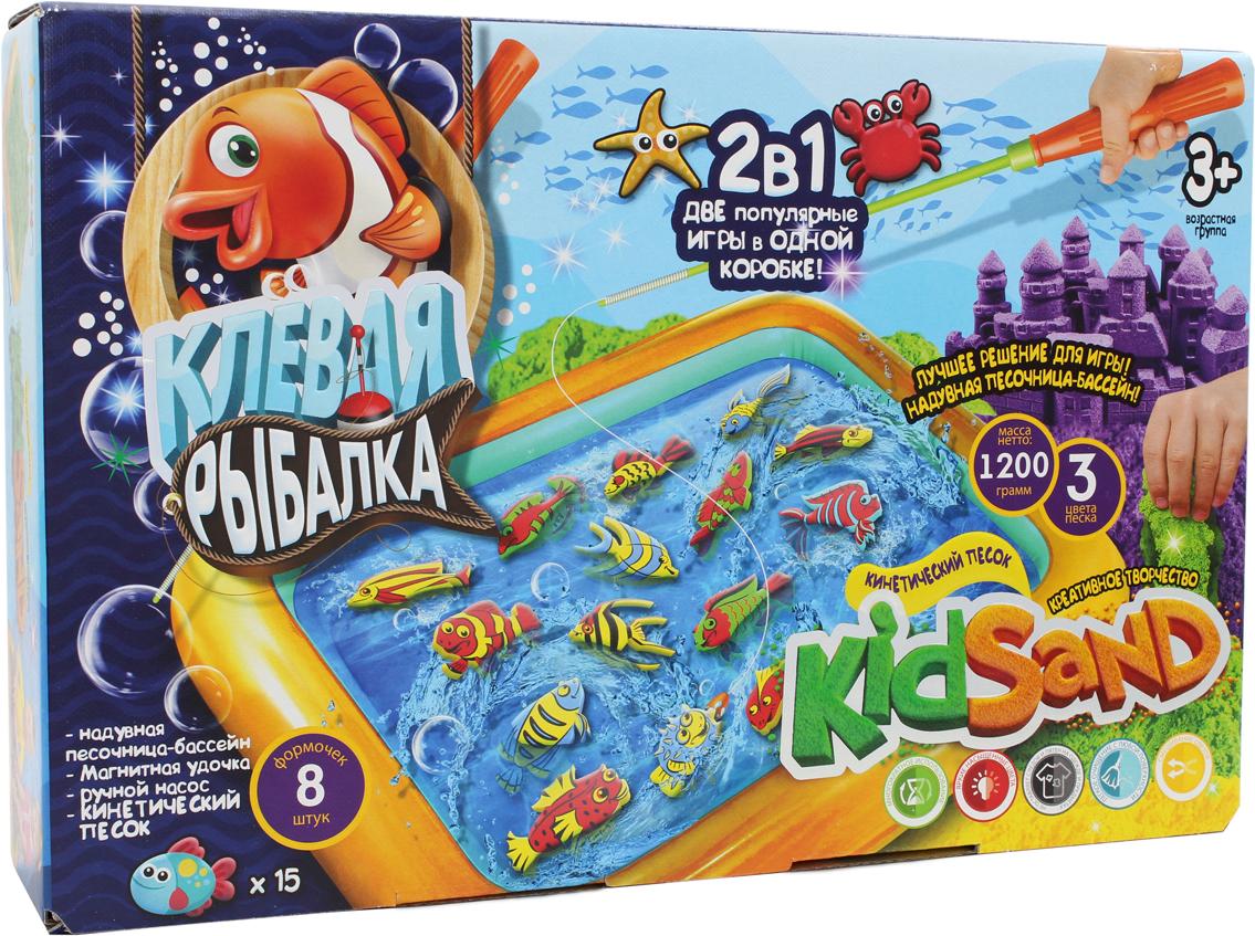 ДанкоТойс Настольная игра 2 в 1 Клевая рыбалка и кинетический песок wg супер кинетический песок цветной 0 5 кг в ведерке красный