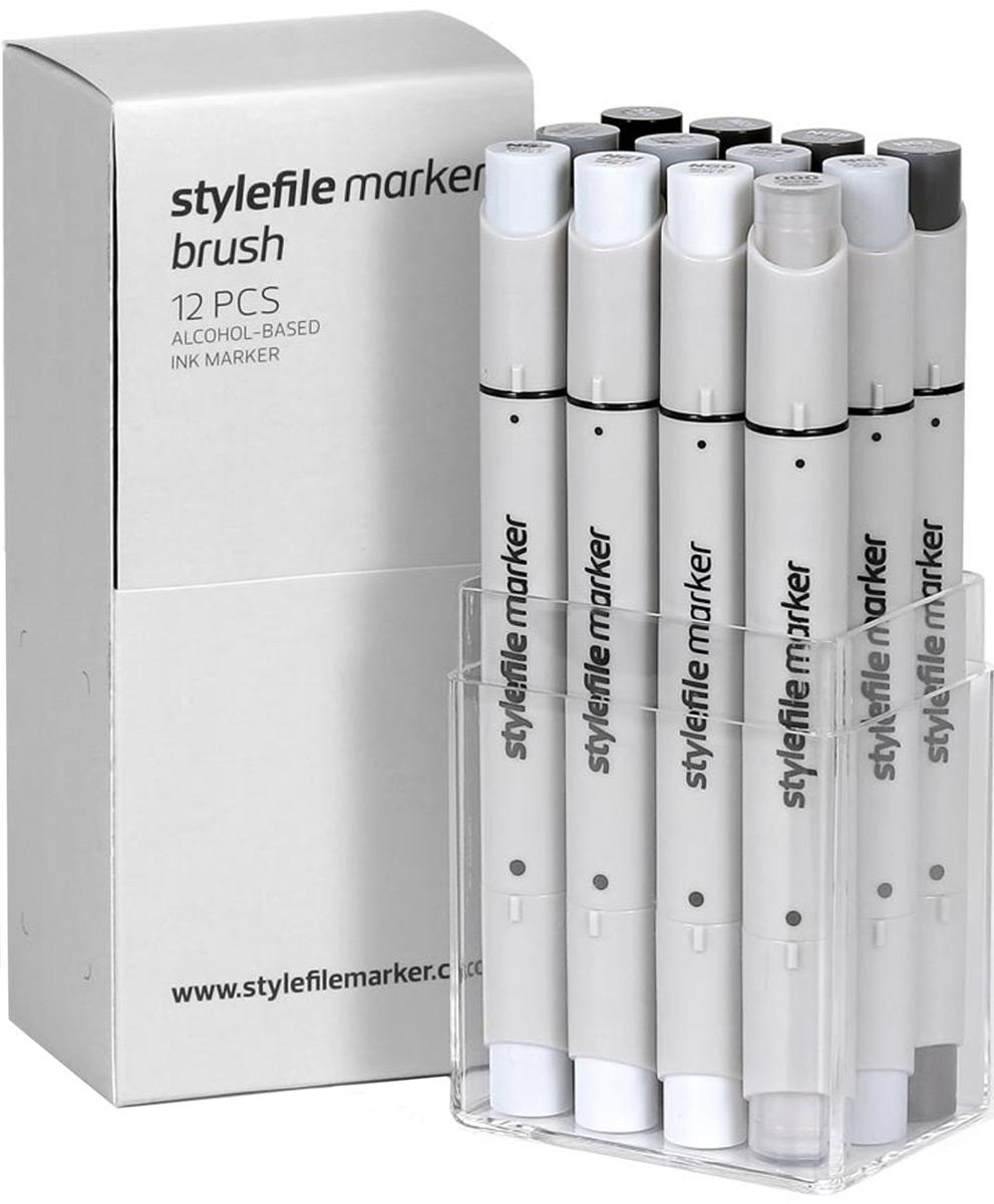 Stylefile Набор маркеров Brush оттенки серый нейтральный 12 шт
