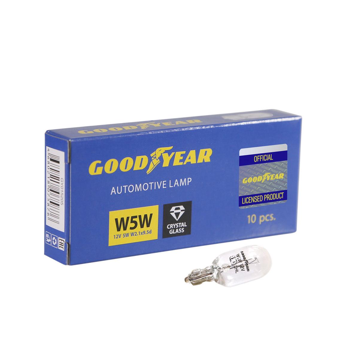 Лампа накаливания автомобильная Goodyear, W5W, 12V, цоколь W2.1x9.5d, 5W, 10 шт автомобильная лампа w5w 5w standart 2 шт philips