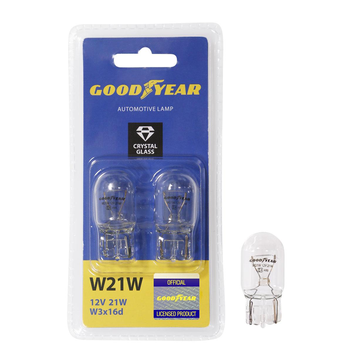 """Лампа накаливания автомобильная """"Goodyear"""", W21W, 12V, цоколь W3x16d, 21W, 2 шт"""