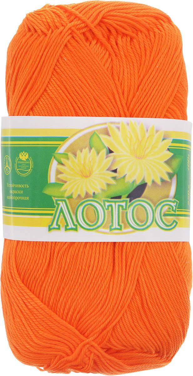 Нитки вязальные Лотос, хлопчатобумажные, цвет: оранжевый (0710), 250 м, 100 г, 4 шт нитки вязальные лотос хлопчатобумажные цвет красный 0904 250 м 100 г 4 шт