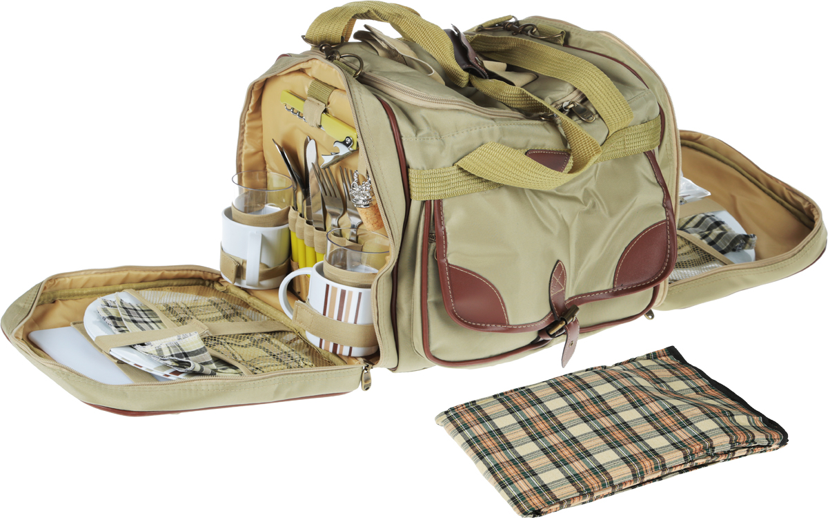 Набор для пикника Green Glade, 4 персоны, цвет: болотный, 37 предметов. T3200 цена