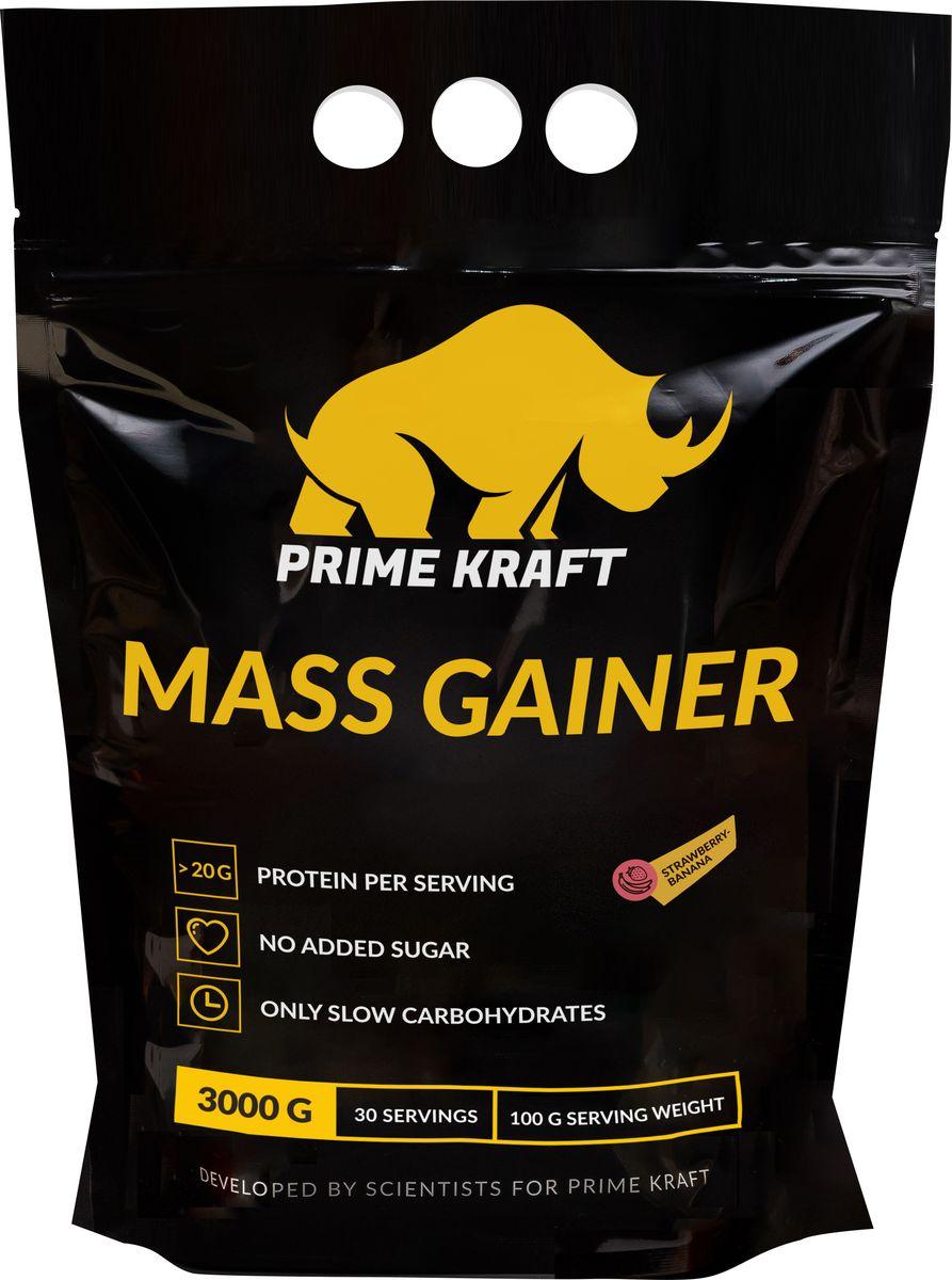 """Напиток сухой Prime Kraft """"Gainer"""", коктейль белковый, клубника-банан, 3 кг"""
