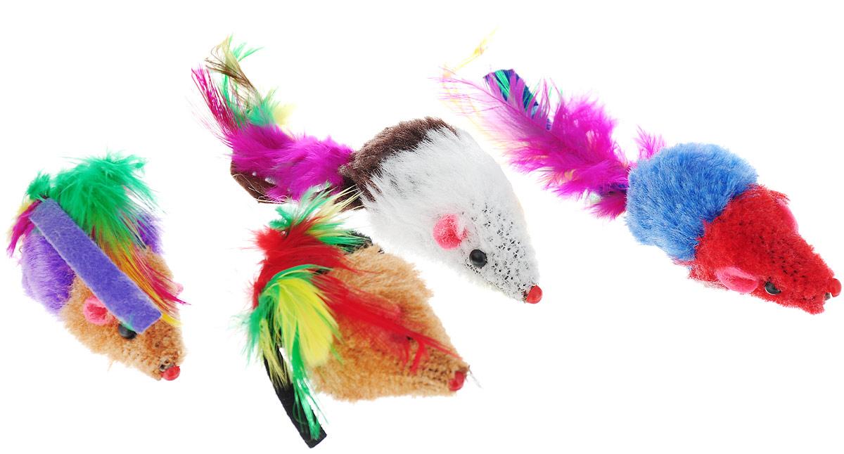 Набор игрушек для животных Nobby Мышка, с перьями, 5 см, 4 шт набор игрушек для животных hagen catit