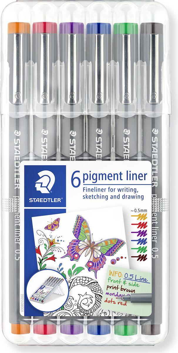 Staedtler Pigment Liner Набор капилярных ручек 6 цветов