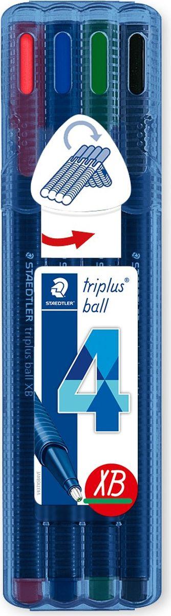Staedtler Набор шариковых ручек Triplus Ball Яркие цвета 4 цвета цена