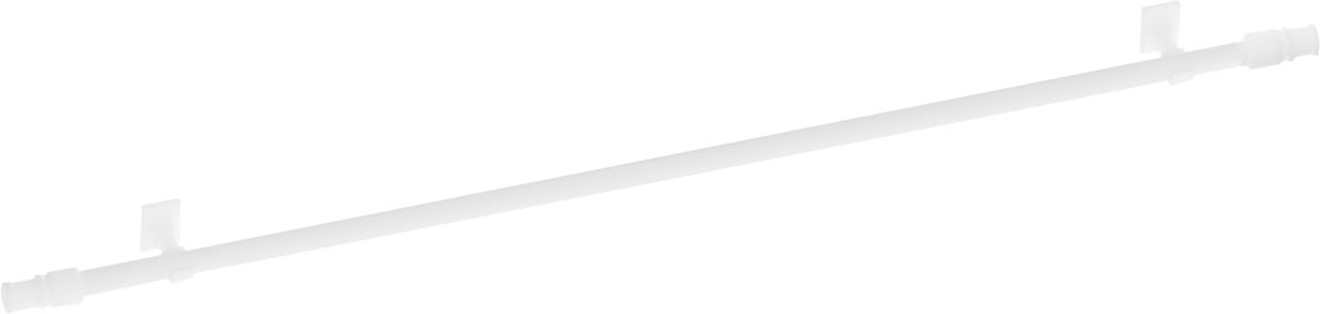 Карниз однорядный Эскар Калифорния, телескопический, цвет: белый, диаметр 12 мм, длина 135-225 см карниз шинный потолочный эскар однорядный с аксессуарами цвет белый длина 150 см