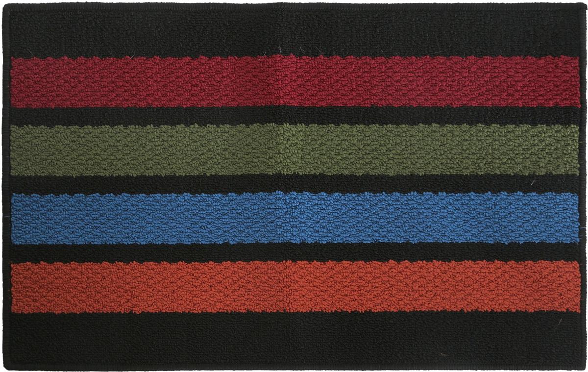 Коврик придверный Vortex Barcelona, цвет: черный, красный, зеленый, 50 х 80 см коврик придверный vortex влаговпитывающий цвет коричневый 50 см х 80 см
