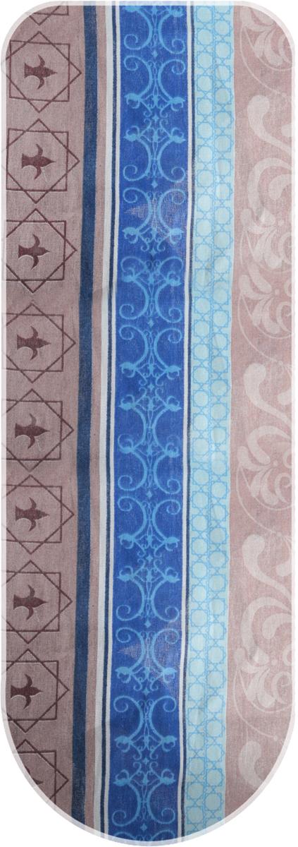Чехол для гладильной доски Eva, цвет: коричневый, синий, голубой, 129 х 45 см чехол для гладильной доски eva с поролоном цвет бежевый синий бордовый 119 х 37 см