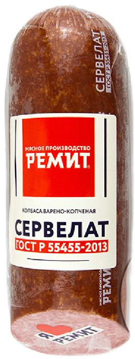 Ремит Колбаса Сервелат варено-копченая ГОСТ, срез, 400 г велком сервелат московский колбаса варено копченая 740 г