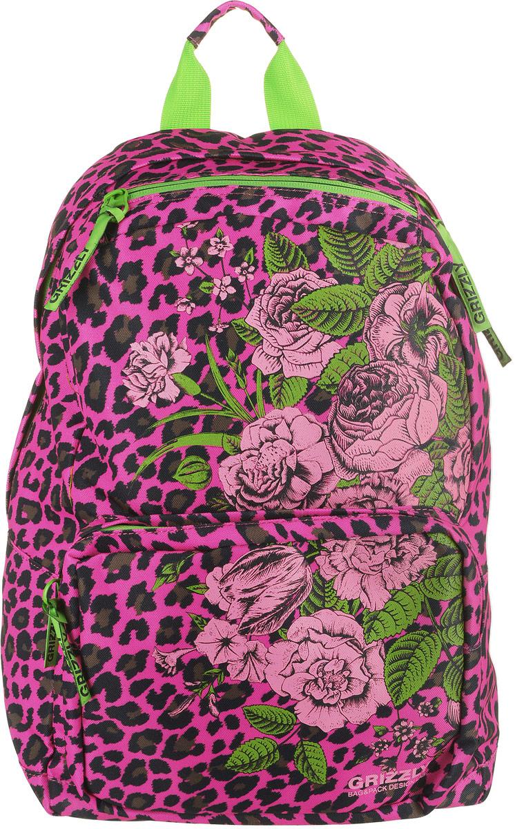 Рюкзак городской Grizzly, цвет: фуксия, леопардовый. RD-830-1/4 цена