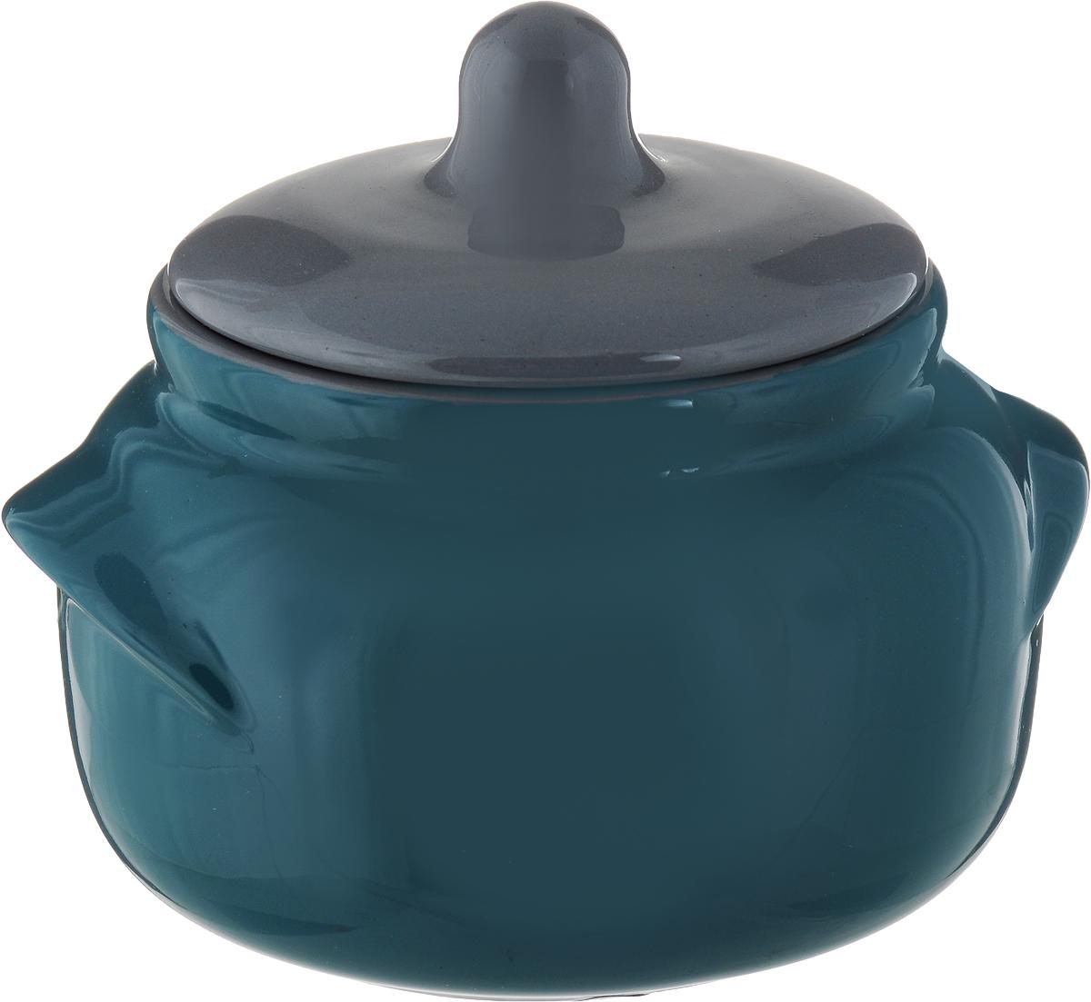 Горшочек для запекания Борисовская керамика Новарусса, цвет: морская волна, серый, 500 мл набор горшочков для запекания борисовская керамика новарусса 4 шт