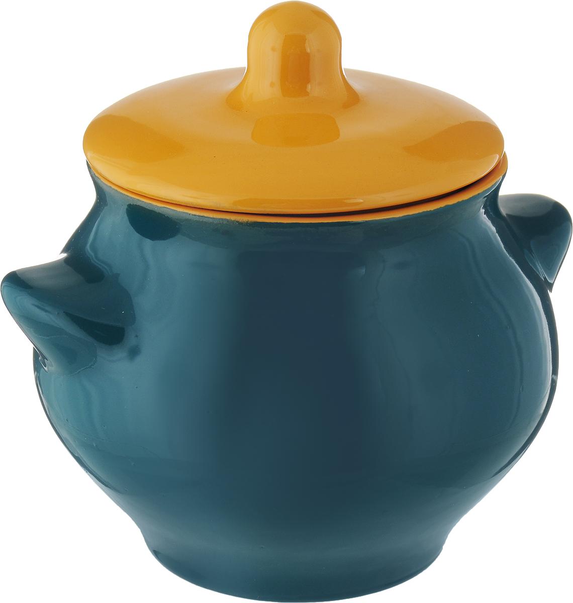 Горшок для жаркого Борисовская керамика Радуга, с крышкой, цвет: морская волна, темно-желтый, 550 мл горшок для запекания борисовская керамика радуга с крышкой цвет голубой желтый 700 мл
