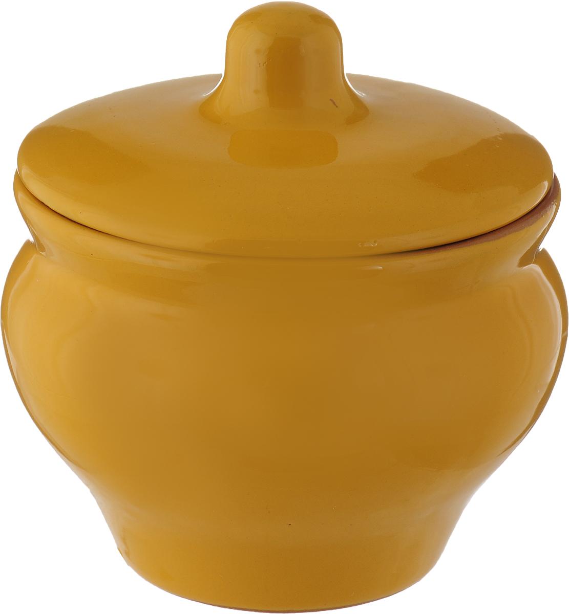 Горшочек для запекания Борисовская керамика Мечта хозяйки, цвет: темно-желтый, 350 мл горшочек для запекания борисовская керамика мечта хозяйки цвет зеленый розовый 350 мл