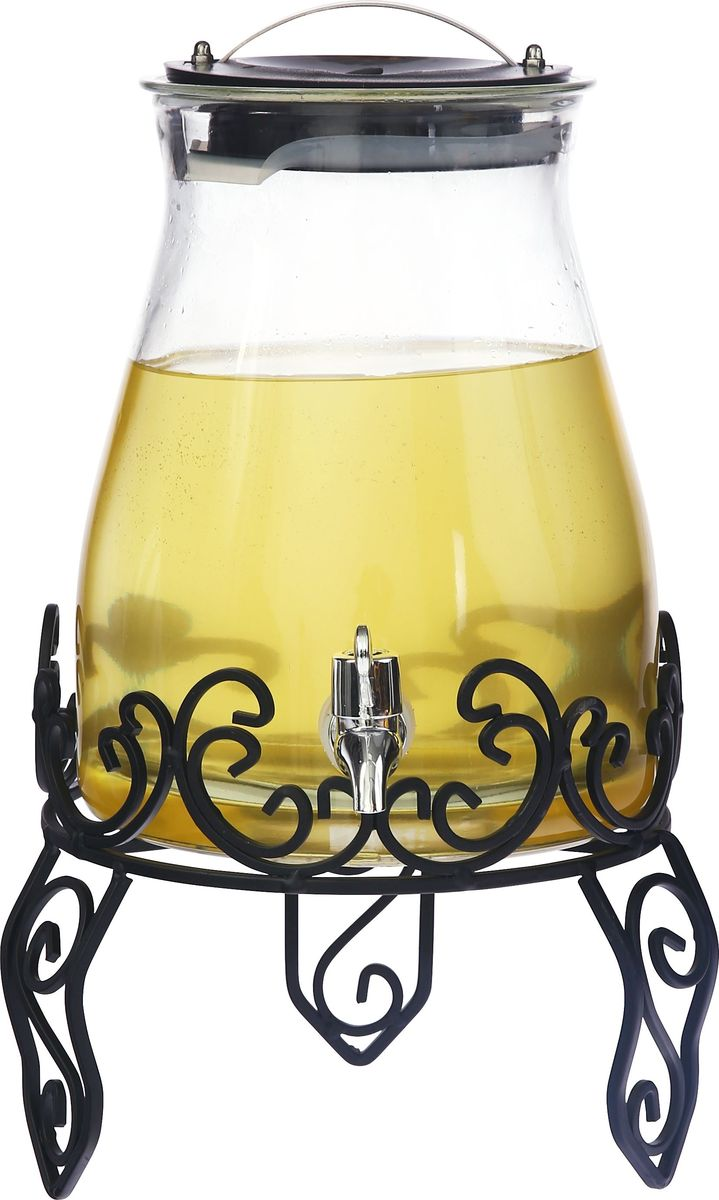 """Емкость для напитков Magic Home """"Лето в бокале"""", с крышкой, цвет: прозрачный, 4,8 л"""