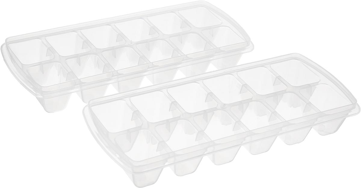 Форма для льда Plast Team, цвет: натуральный, 12 ячеек, 2 шт цена