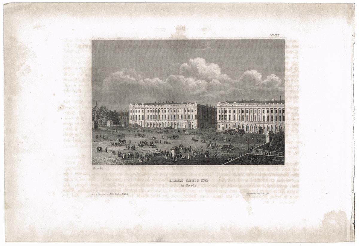 Площадь Луи XVI (Place Louis XVI). Гравюра, офорт. Германия, середина XIX века цены онлайн