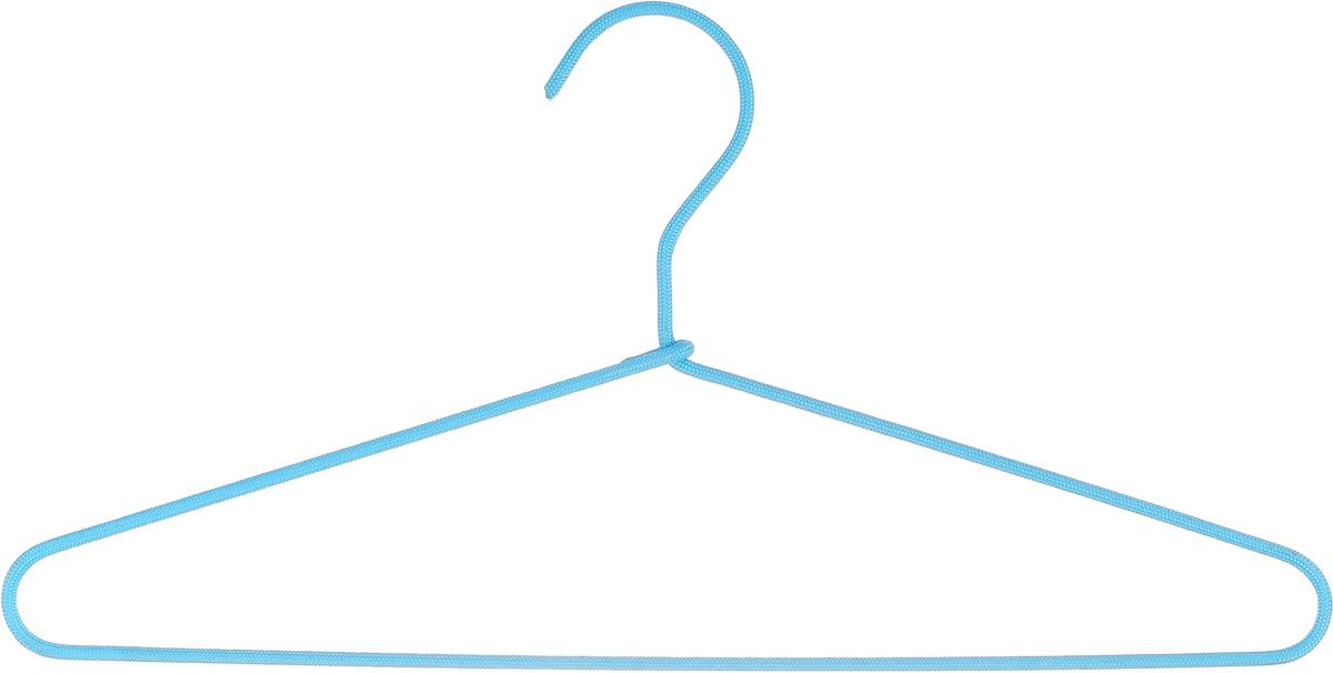 Вешалка для одежды HomeQueen, металлическая, с текстильным покрытием, цвет: голубой, длина 40,5 см швабра homequeen homequeen отжимная цвет синий черный длина 110 см