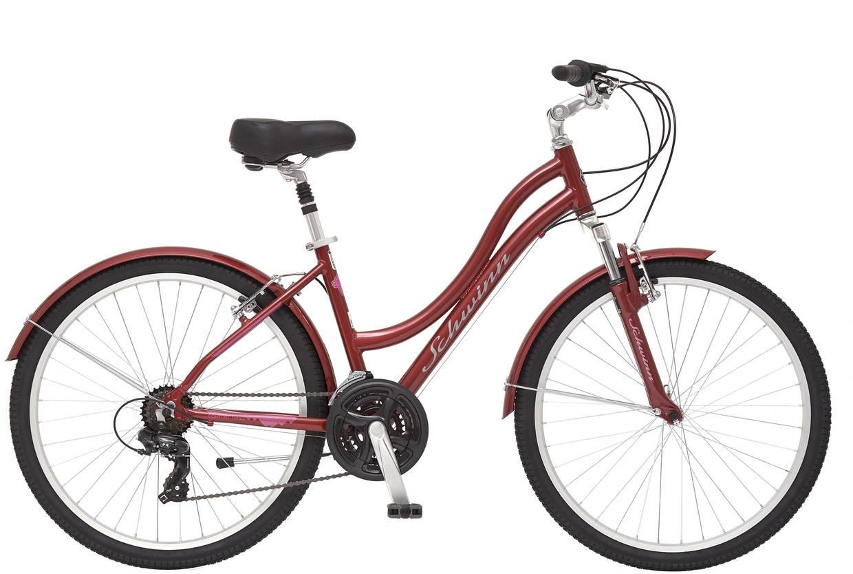 Велосипед городской Schwinn Suburban Deluxe Women, колесо 26, рама 17,5, цвет: красный, 21 скорость вилка амортизационная suntour гидравлическая для велосипедов 26 ход 100 120мм sf14 xcr32 rl 26