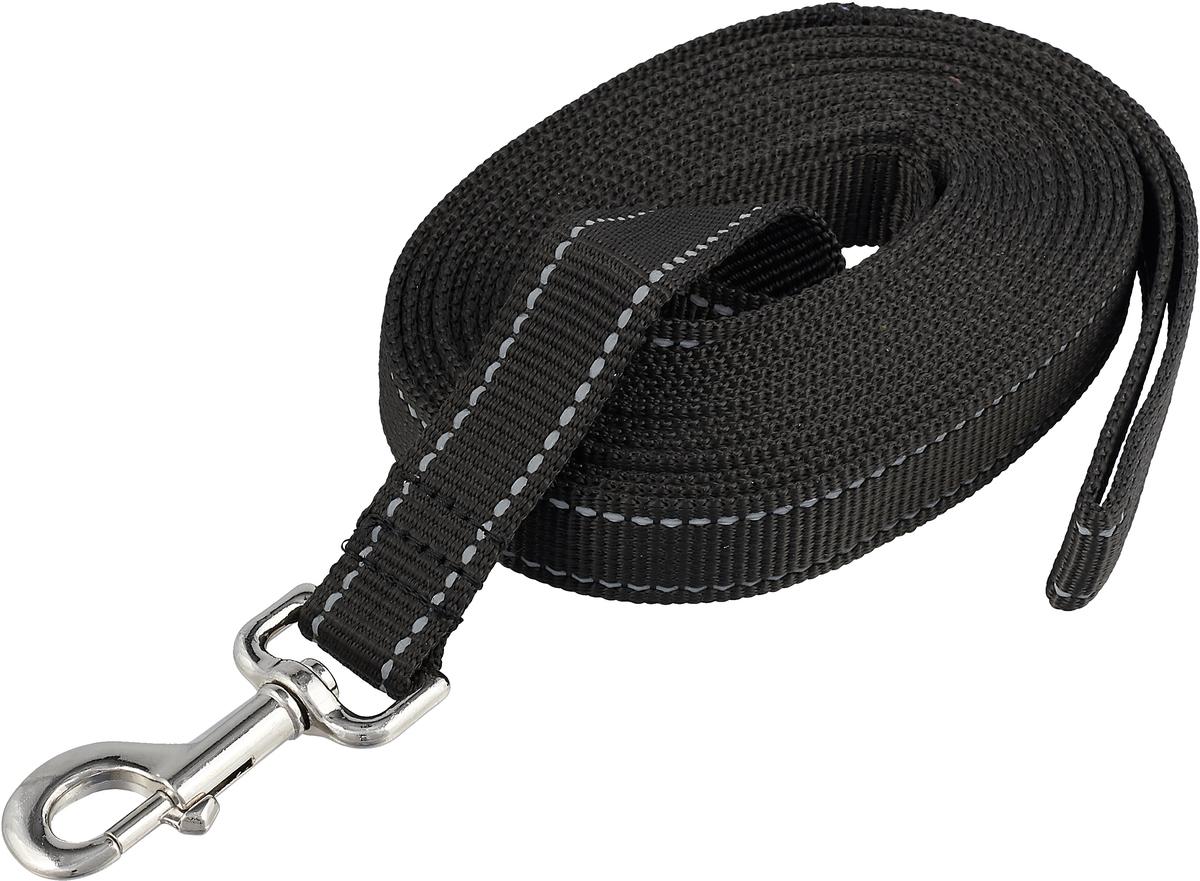 Поводок капроновый для собак Аркон, цвет: черный, ширина 2,5 см, длина 5 м поводок капроновый для собак аркон цвет розовый ширина 2 см длина 5 м