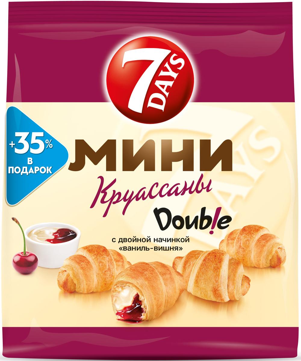 7DAYS Double! Мини-круассаны с двойной начинкой Ваниль-Вишня, 300 г
