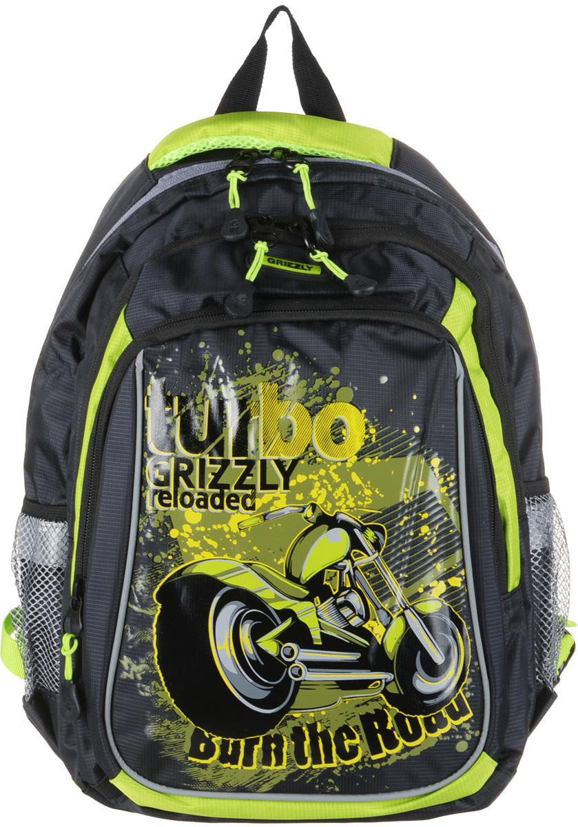Grizzly Рюкзак школьный цвет черный салатовый grizzly рюкзак черно салатовый