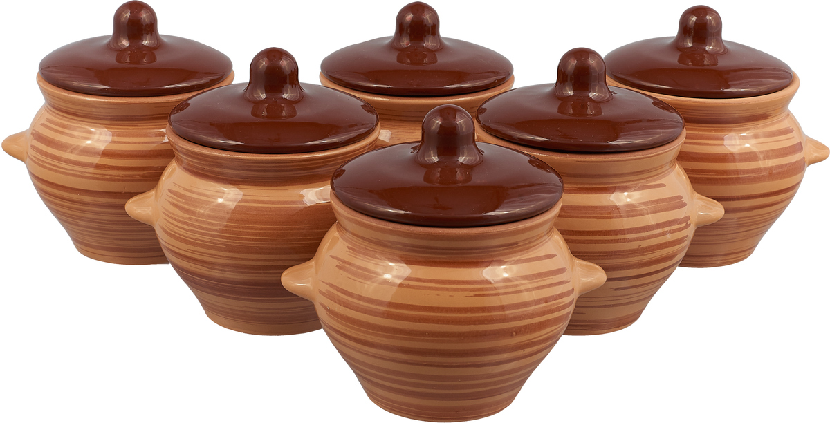Фото - Набор горшочков для запекания Борисовская керамика Стандарт, с крышками, светло-коричневый, темно-коричневый, 500 мл, 6 шт салатник борисовская керамика модерн цвет зеленый коричневый 500 мл