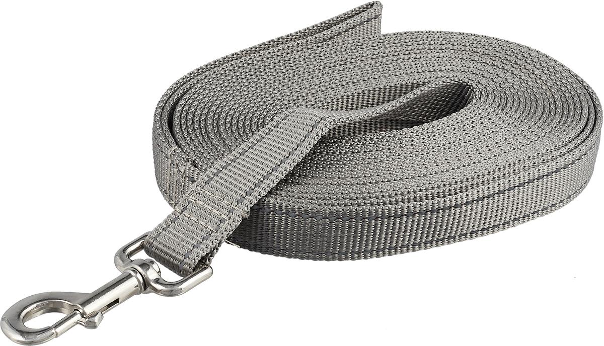 Поводок капроновый для собак Аркон, цвет: серый, ширина 2,5 см, длина 7 м поводок капроновый для собак аркон цвет розовый ширина 2 см длина 5 м