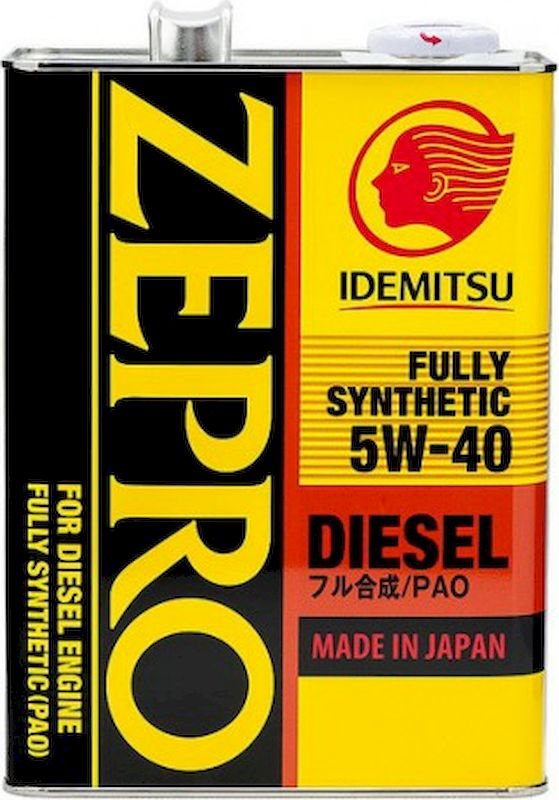 Масло моторное IDEMITSU ZEPRO DIESEL FULLY SYNTHETIC, синтетическое, SAE 5W-40, API CF, 4 л