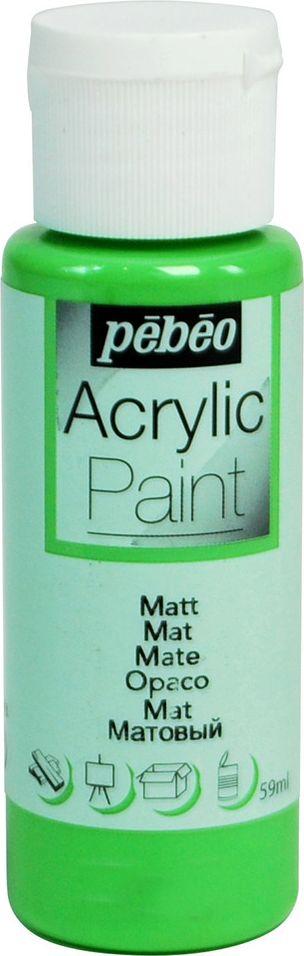 Pebeo Краска акриловая Acrylic Paint матовая цвет 097837 зеленое яблоко 59 мл097837Жидкая акриловая краска Pebeo предназначена для декорирования. Высоко пигментированная, покрывная и перманентная. Краски смешиваются друг с другом. Водостойкие после высыхания. Обладают высокой покрывной способностью. Разводятся водой. Поверхности: дерево, холст, картон, металл и другие. Финиш: матовый.