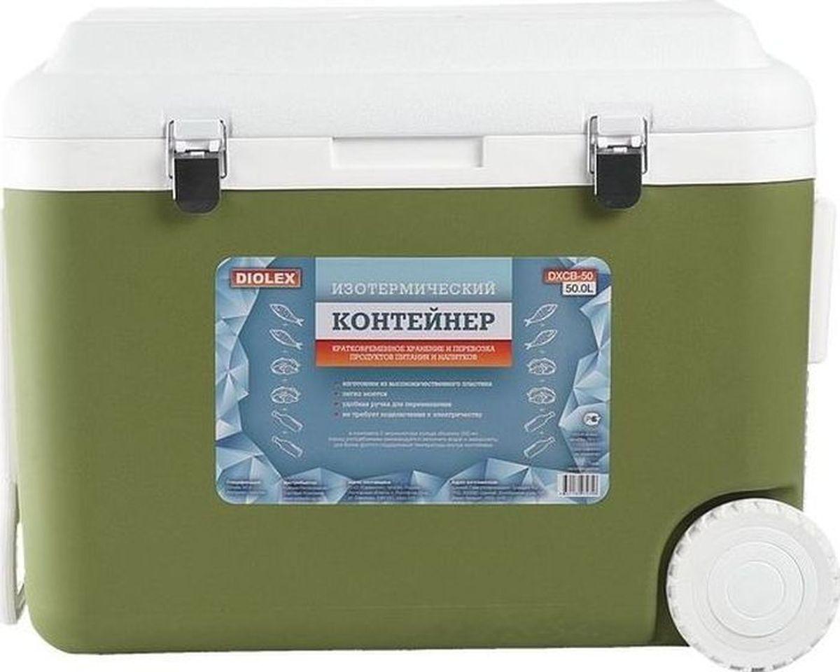 Контейнер изотермический Diolex, с 4 аккумуляторами холода, цвет: зеленый, 50 л контейнер изотермический rosenberg с 2 аккумуляторами холода цвет синий белый 10 л